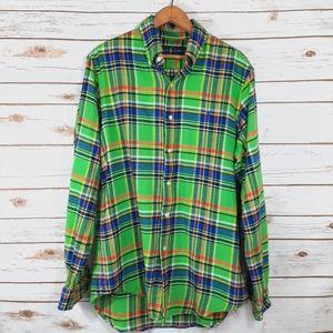 Ralph Lauren Neon Green Plaid Flannel Button Down